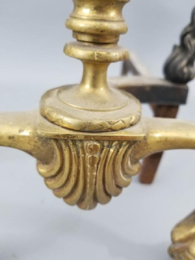 Pair of Empire-Style Brass Andirons - 9