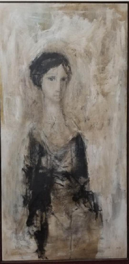 Signed Portrait in Neutrals of Woman, Wood Frame