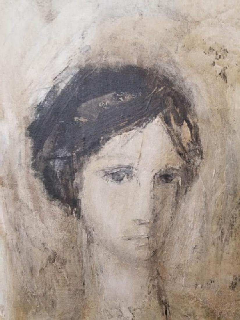 Signed Portrait in Neutrals of Woman, Wood Frame - 3