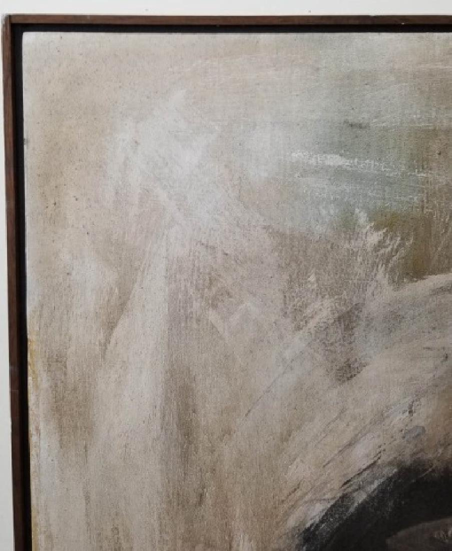 Signed Portrait in Neutrals of Woman, Wood Frame - 4
