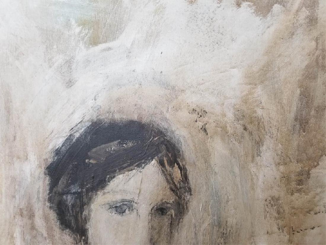Signed Portrait in Neutrals of Woman, Wood Frame - 6