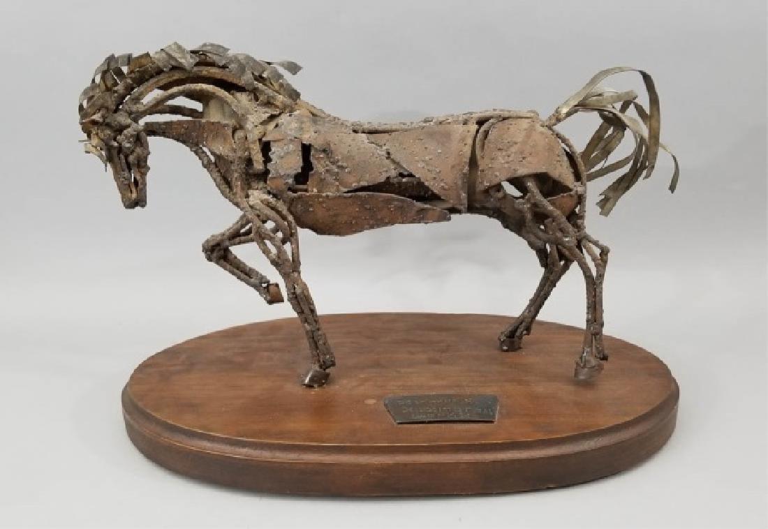 Mid Century Brutalist Style Metal Horse Sculpture