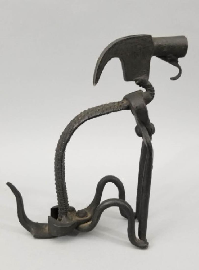 Handmade Repurposed Metal Dog Table Statue