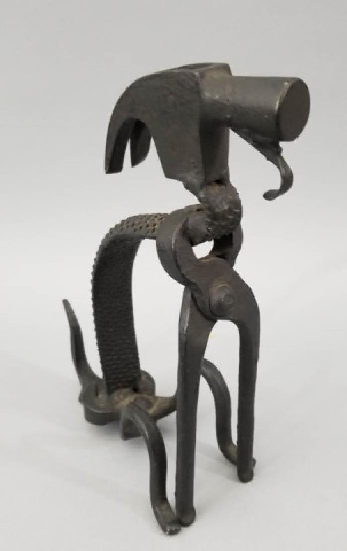 Handmade Repurposed Metal Dog Table Statue - 5