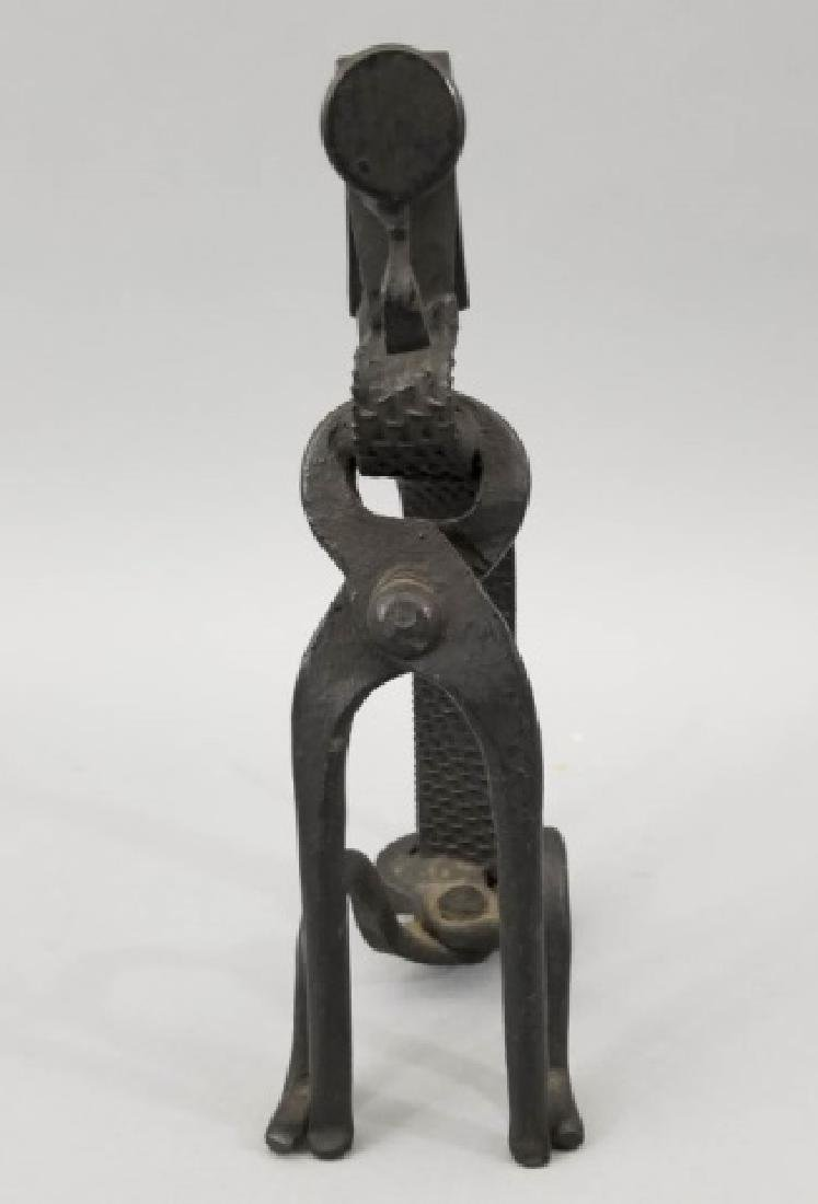 Handmade Repurposed Metal Dog Table Statue - 7