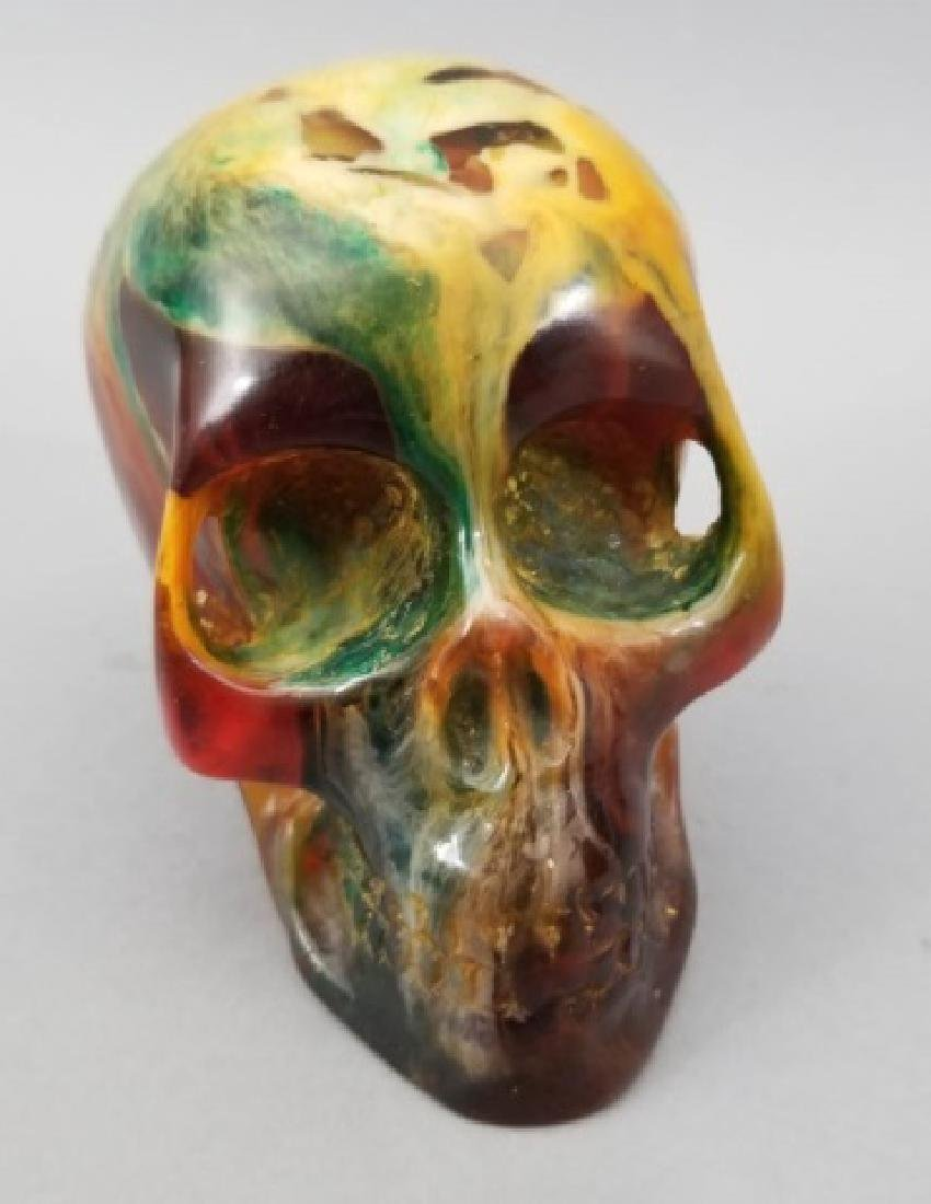 Larged Faux Amber Human Skull Memento Mori Statue