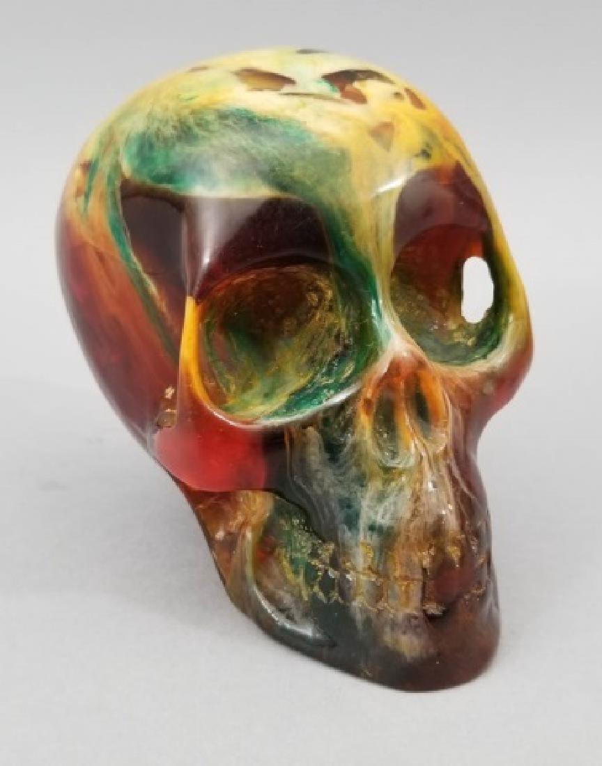Larged Faux Amber Human Skull Memento Mori Statue - 4