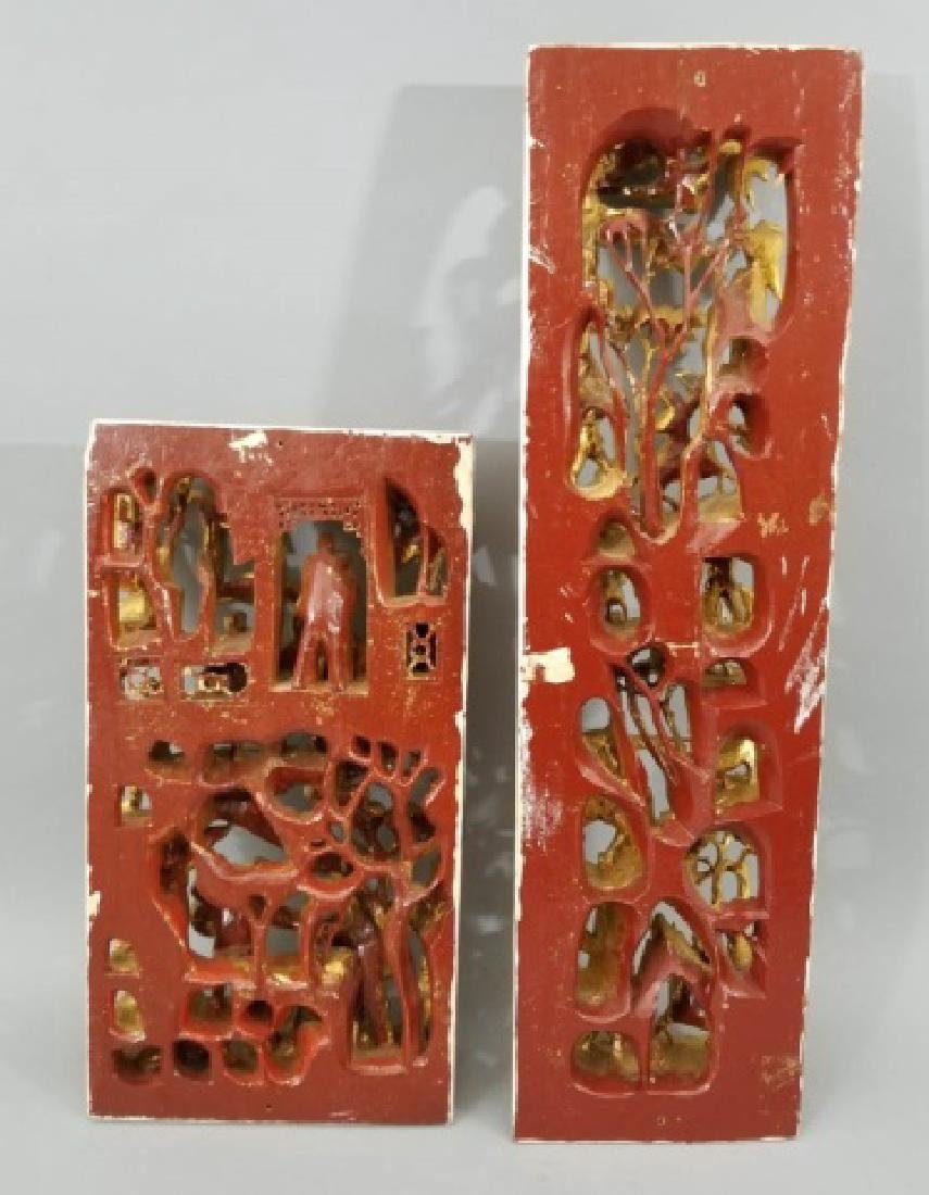 Two Hand Carved Chinese Gilt Wood Plaques - 2