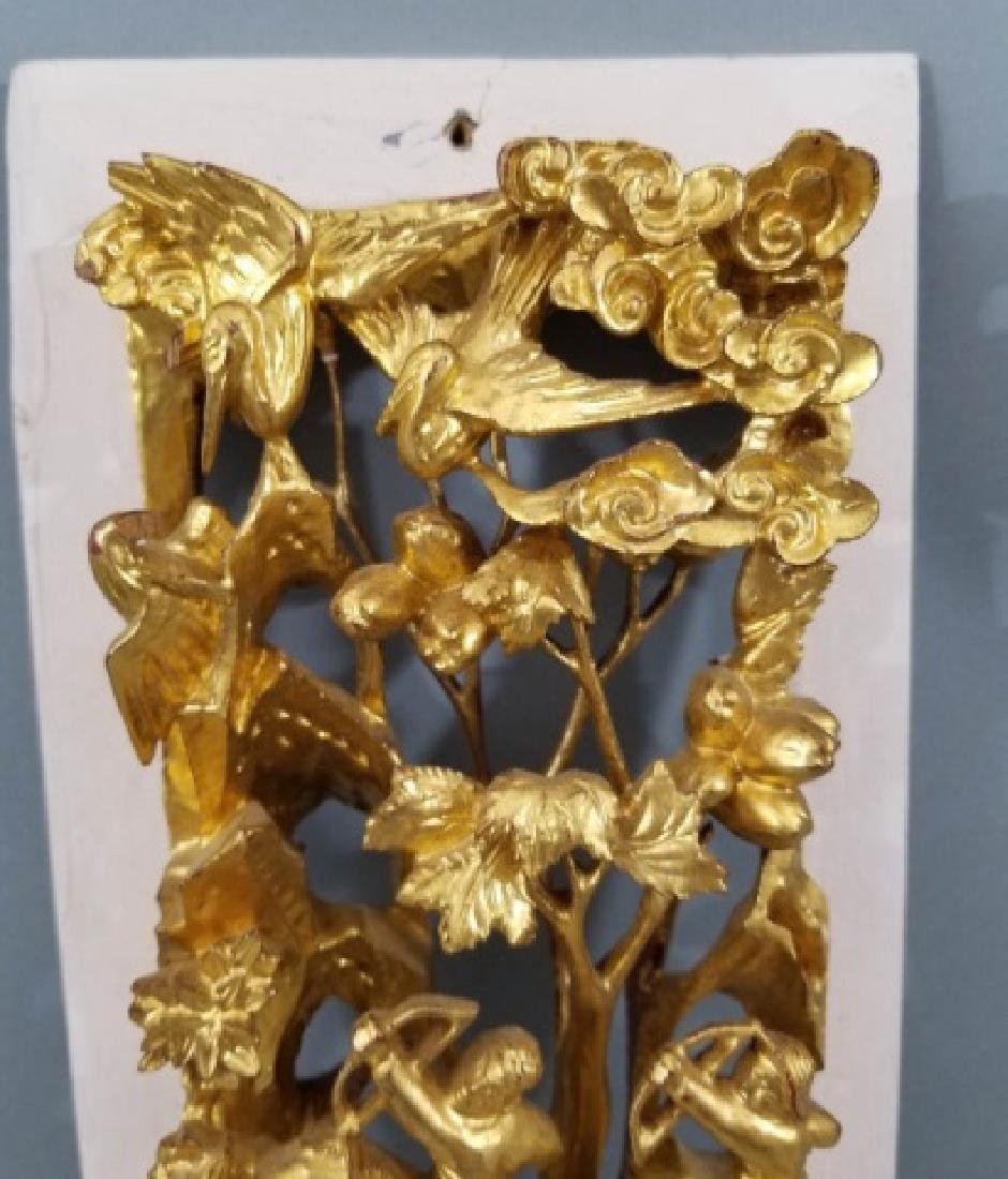 Two Hand Carved Chinese Gilt Wood Plaques - 4