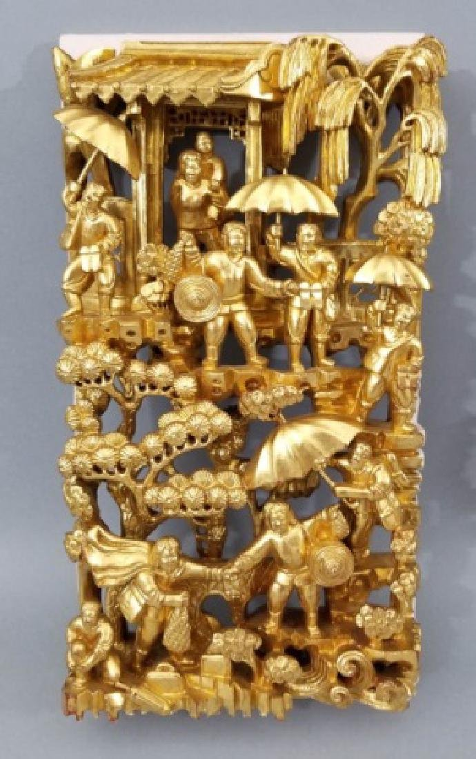 Two Hand Carved Chinese Gilt Wood Plaques - 7