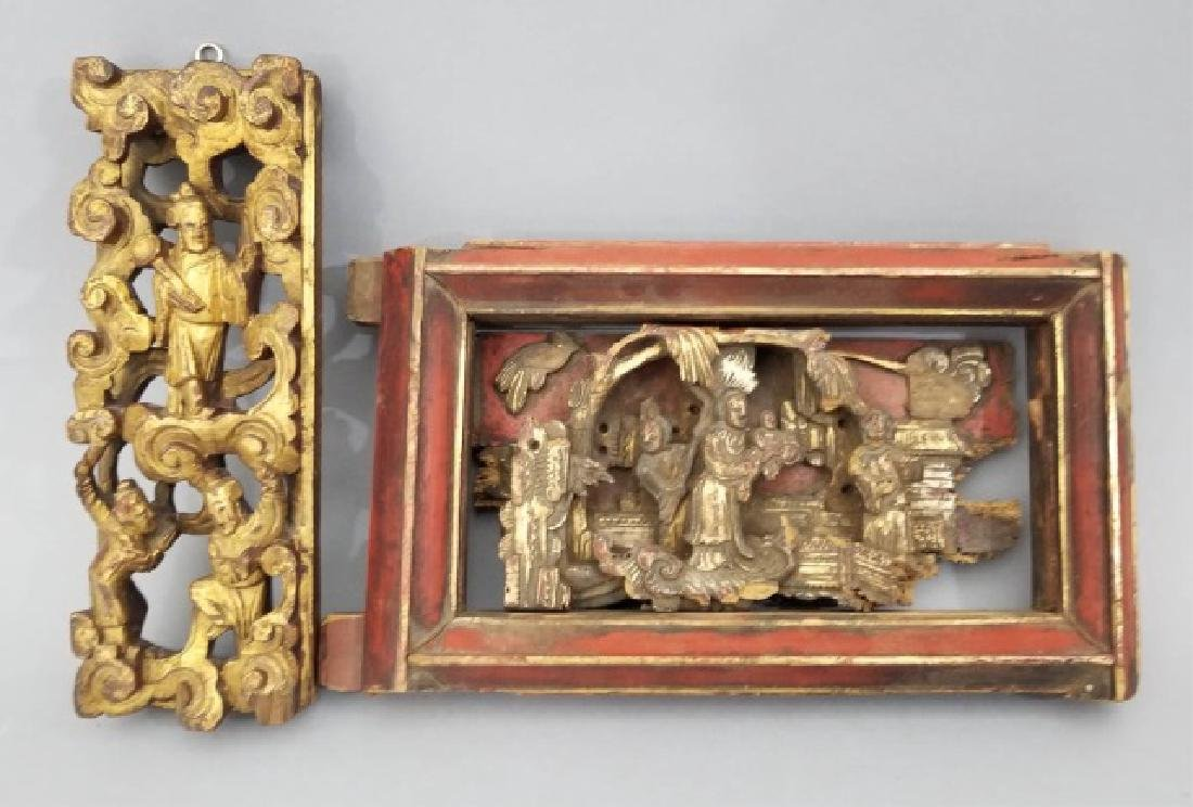 Two Antique Hand Carved Chinese Gilt Wood Plaques