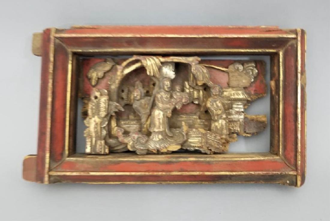 Two Antique Hand Carved Chinese Gilt Wood Plaques - 3