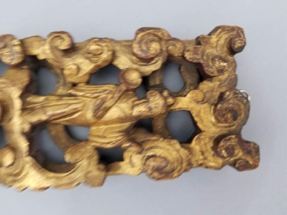Two Antique Hand Carved Chinese Gilt Wood Plaques - 7
