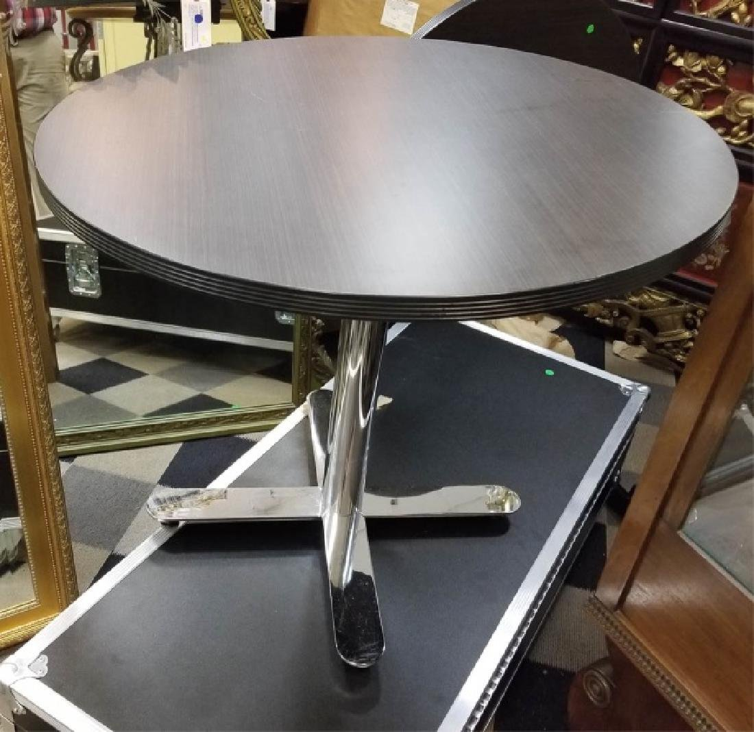 Modern Black & Chrome Round Flip-Top Table