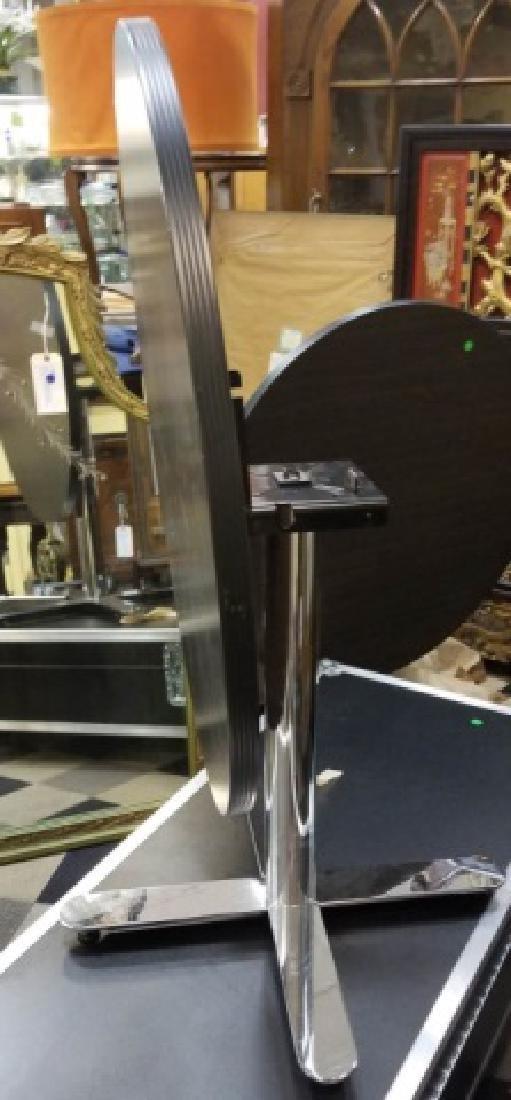 Modern Black & Chrome Round Flip-Top Table - 3