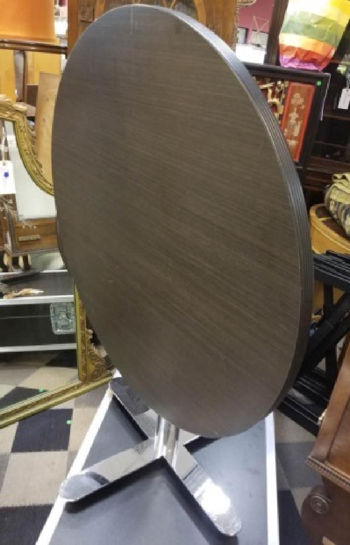 Modern Black & Chrome Round Flip-Top Table - 7