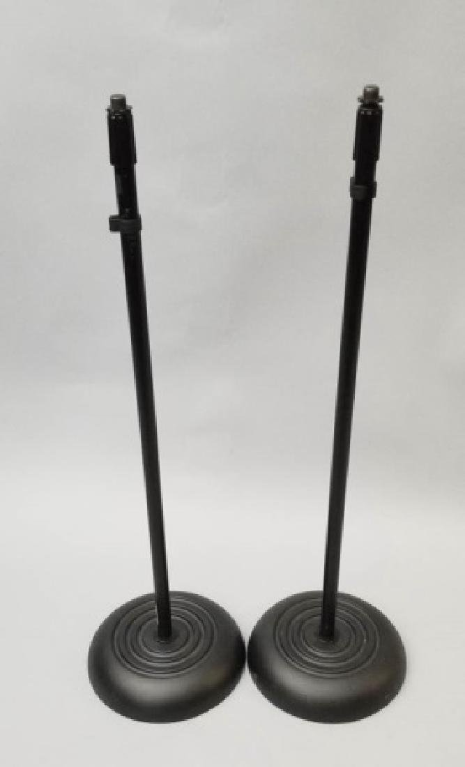 Pair of Round Base Microphone Stands-Adjustable