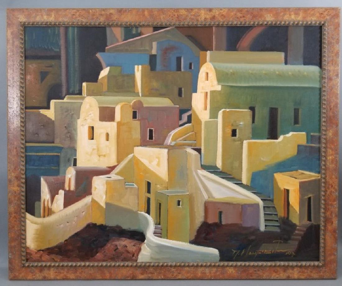 Signed Oil Painting of San Tocini, Greece - 2007