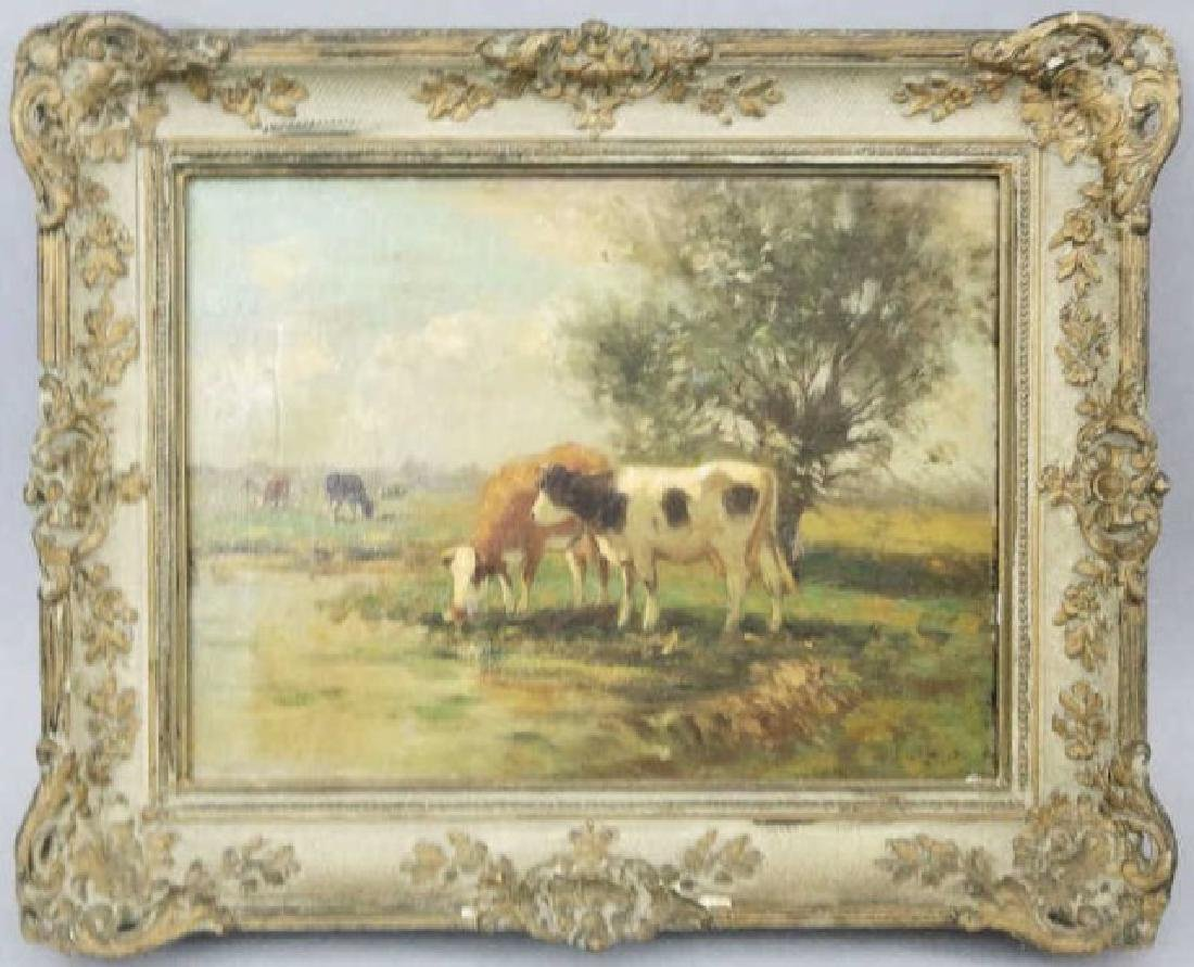 Antique Oil on Canvas Painting of Cows at a Stream
