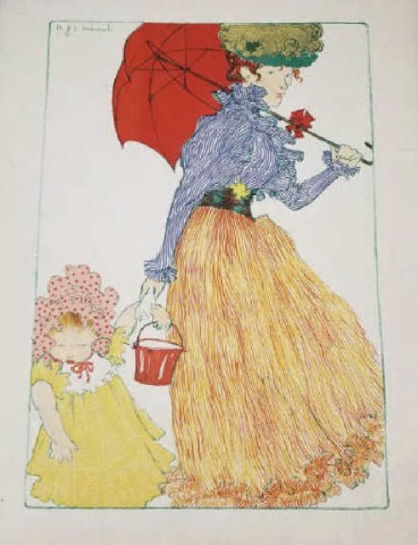 HJE Evenepoel Pencil & Gouache Painting of Lady