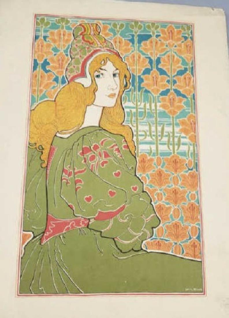 Louis John Rhead Art Nouveau Color Lithograph