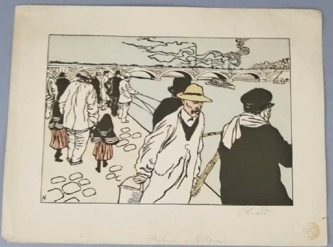 Charles Huard Color Lithograph of Parisian Fishing