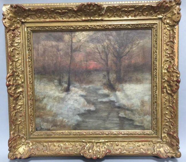 Palmer - Antique 19th C Winter Landscape Painting