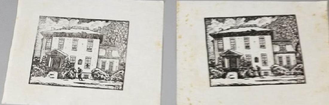 2 Norman Kent Woodblock Prints on Cotton Foolscap