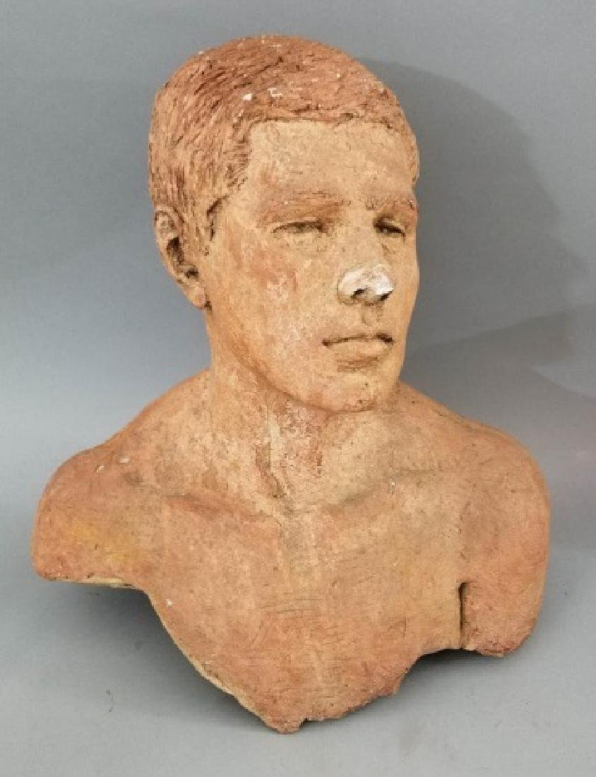 Hand-Made Clay Bust of John Kennedy Signed D'Esopo