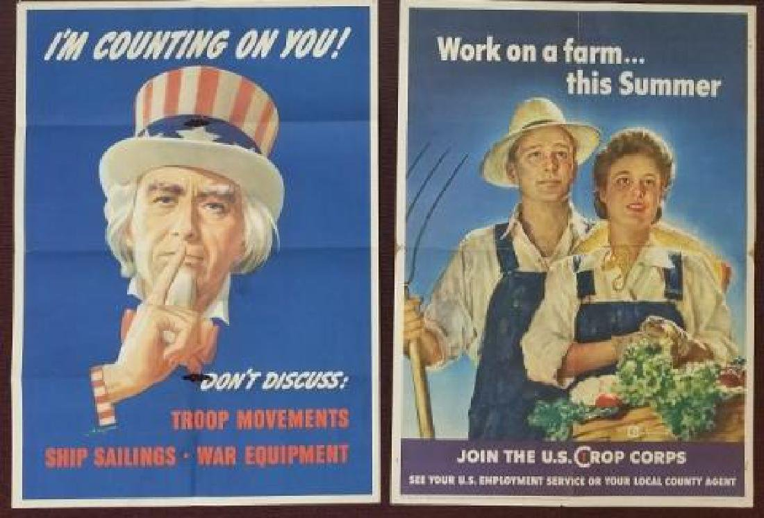 2 WW2 US OWI Posters Uncle Sam & Farm Work