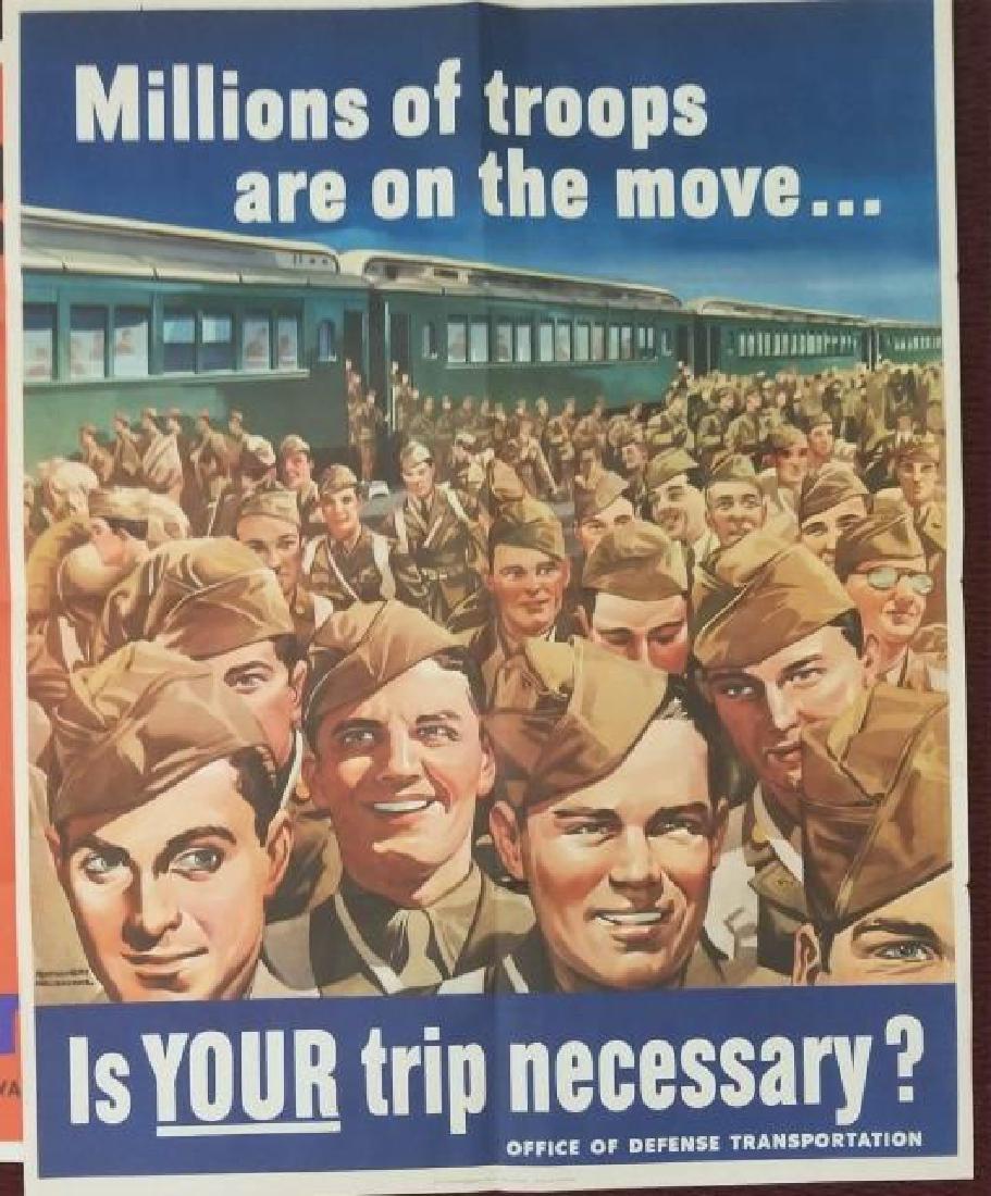 2 WW2 US Posters Careless Talk & Troop Movements