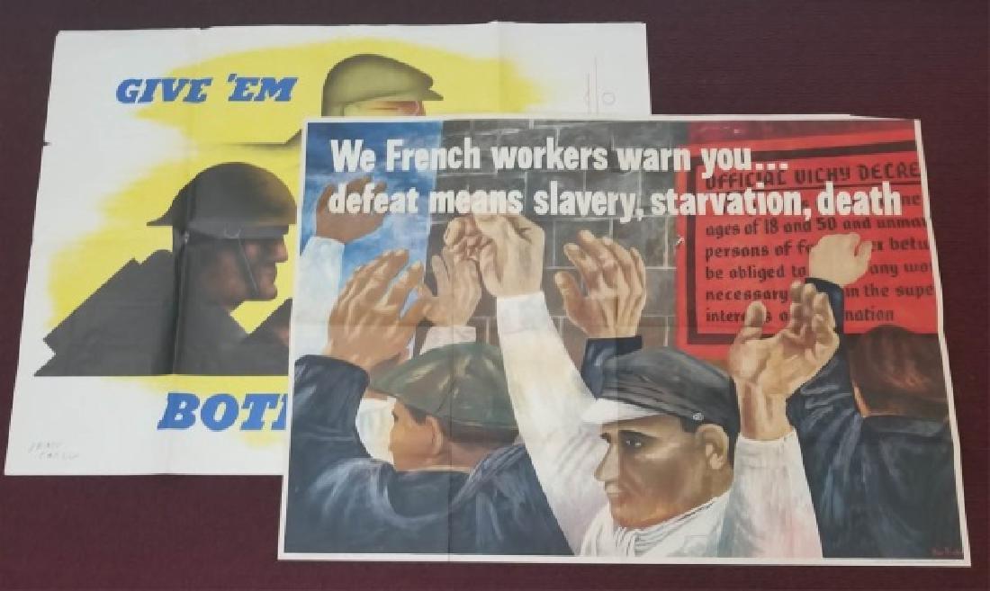 2 WW2 US Orig Posters Vichy Workers & Both Barrels