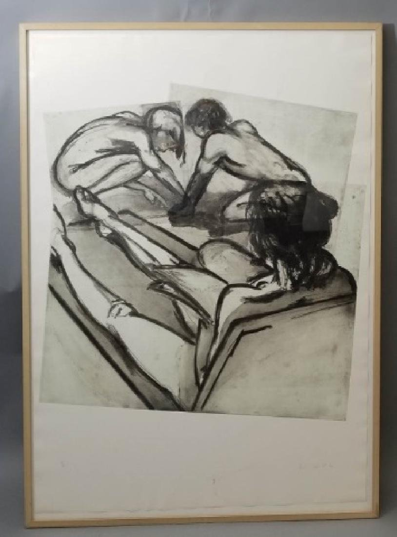 Eric Fischl Signed Lrg 3-Part Etching of 3 Figures