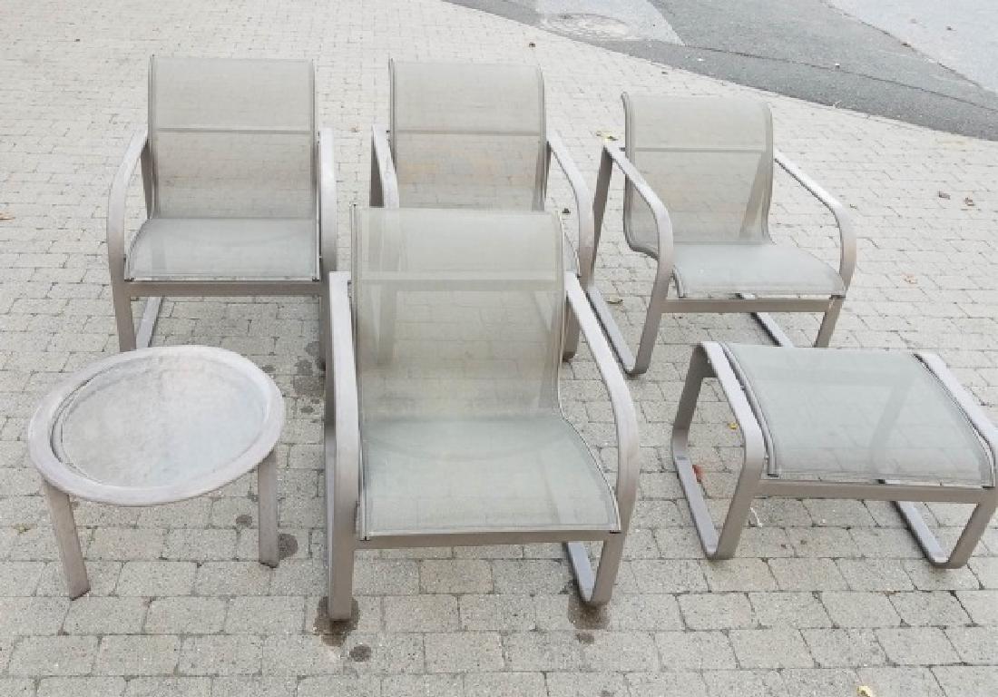4 Brown Jordan Armchairs w Beige Glazed Frame