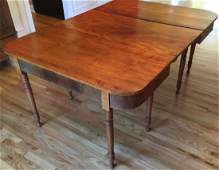 Antique 19th C American Carved Dining Table w Leaf