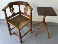 Antique 19th C Corner Chair & Pedestal End Table