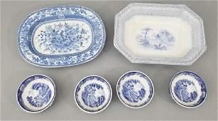 Antique English Blue Transferware Serving Items