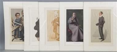 5 19thC Orig Lithos Vanity Fair- People of the Day
