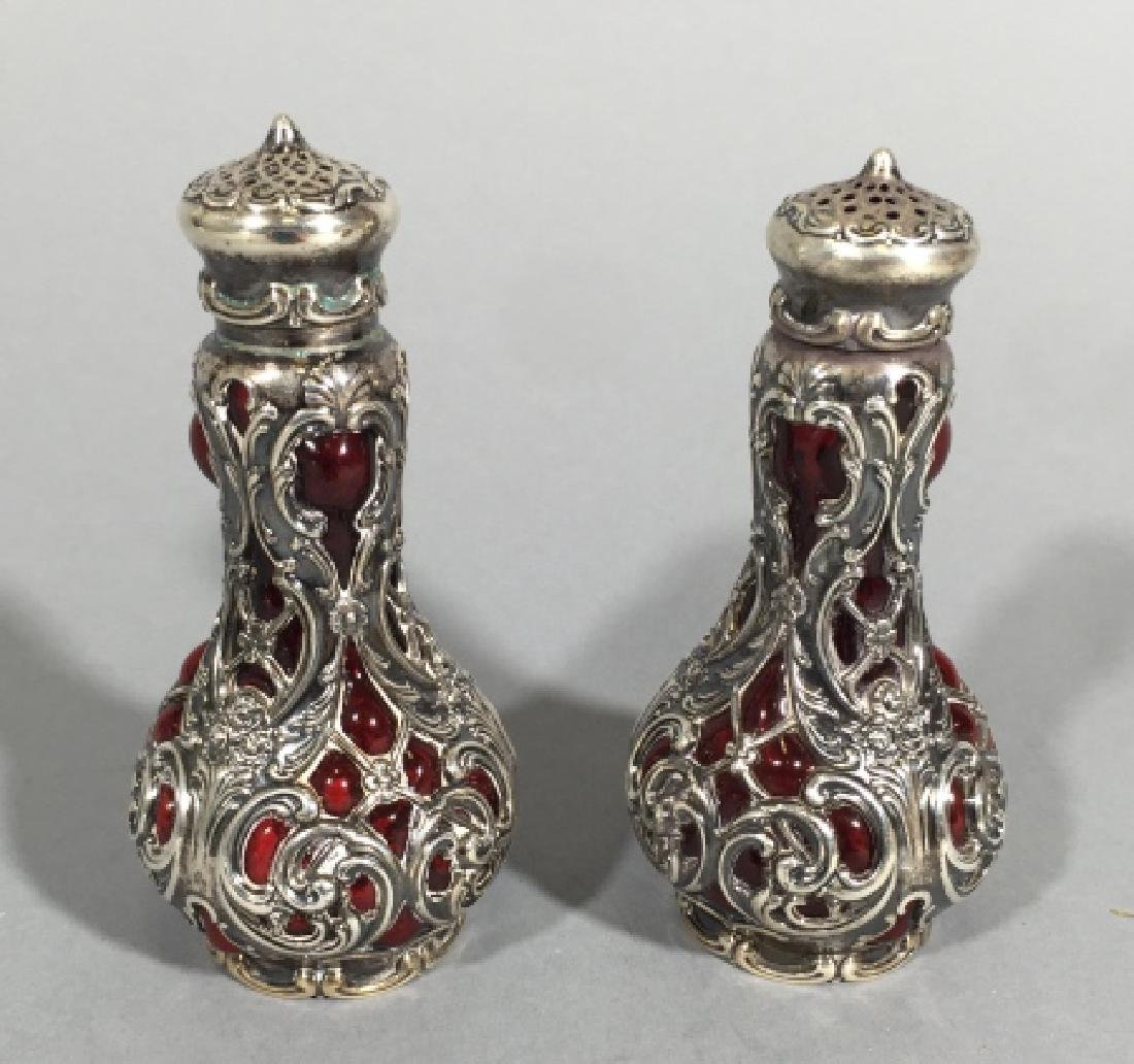 Pair Antique Sterling & Ruby Glass Salt & Pepper