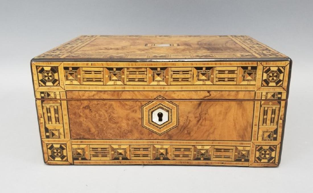 Antique 19th C Tunbridge & Burl Wood Jewelry Box