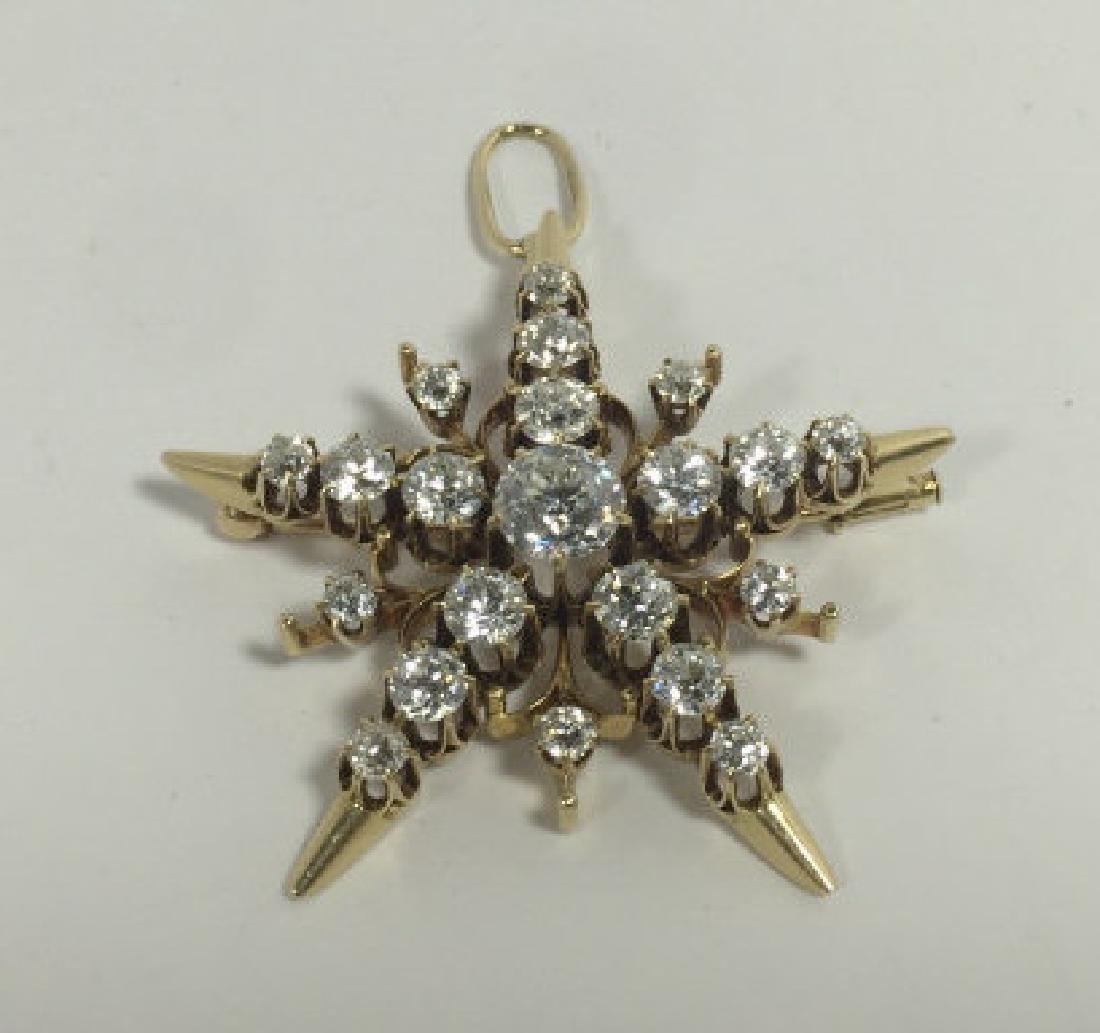 Estate 5.25 Carat Diamond & Gold Star Pendant