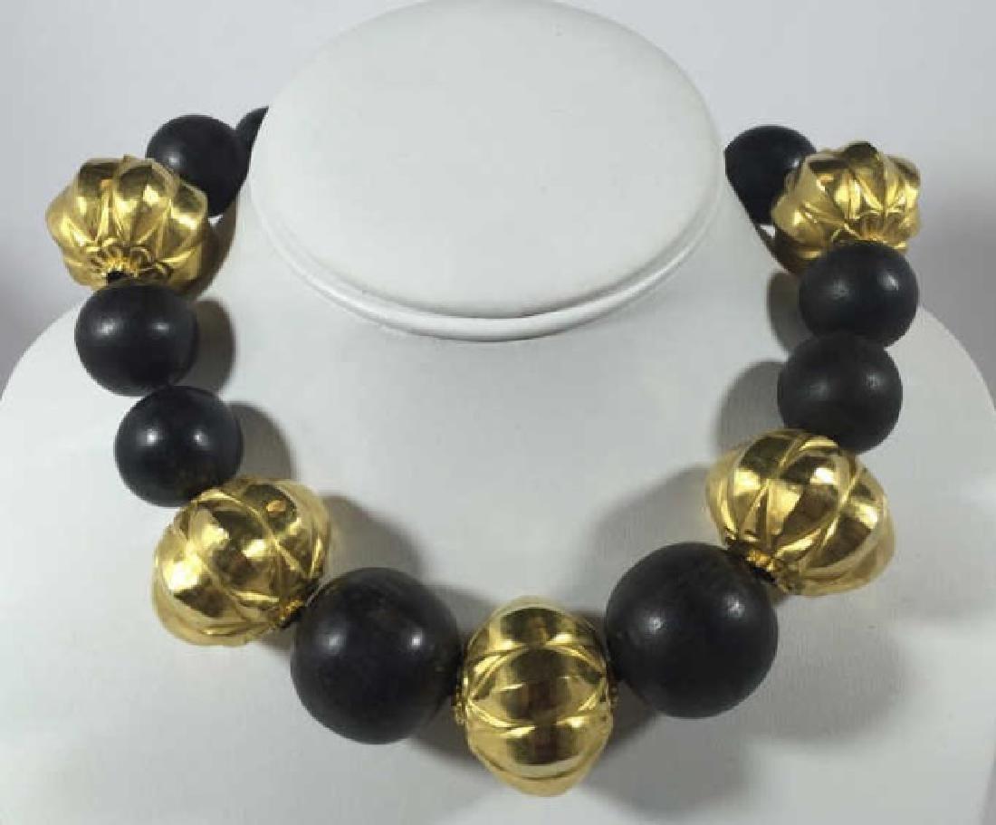 Estate Verdura 18kt Gold & Carved Wood Necklace