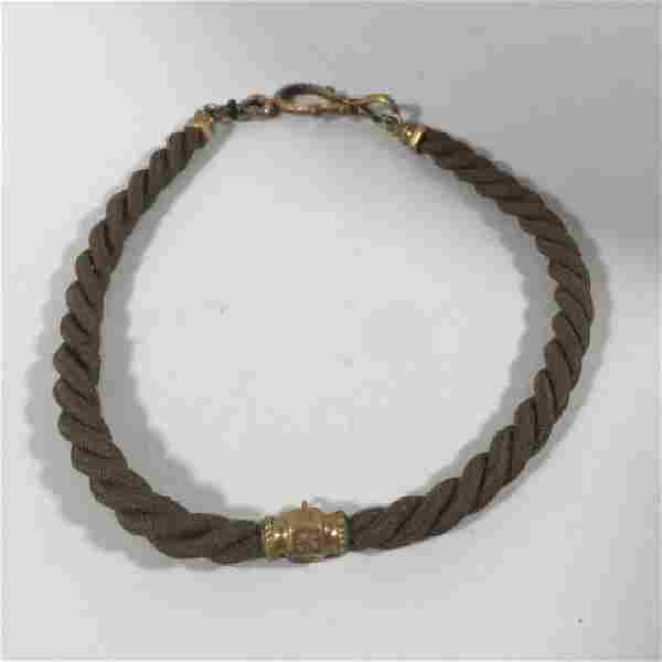 Antique 19th C Victorian Mourning Hair Necklace