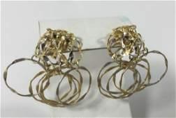 Pair Retro Italian 18kt Yellow Gold Earrings