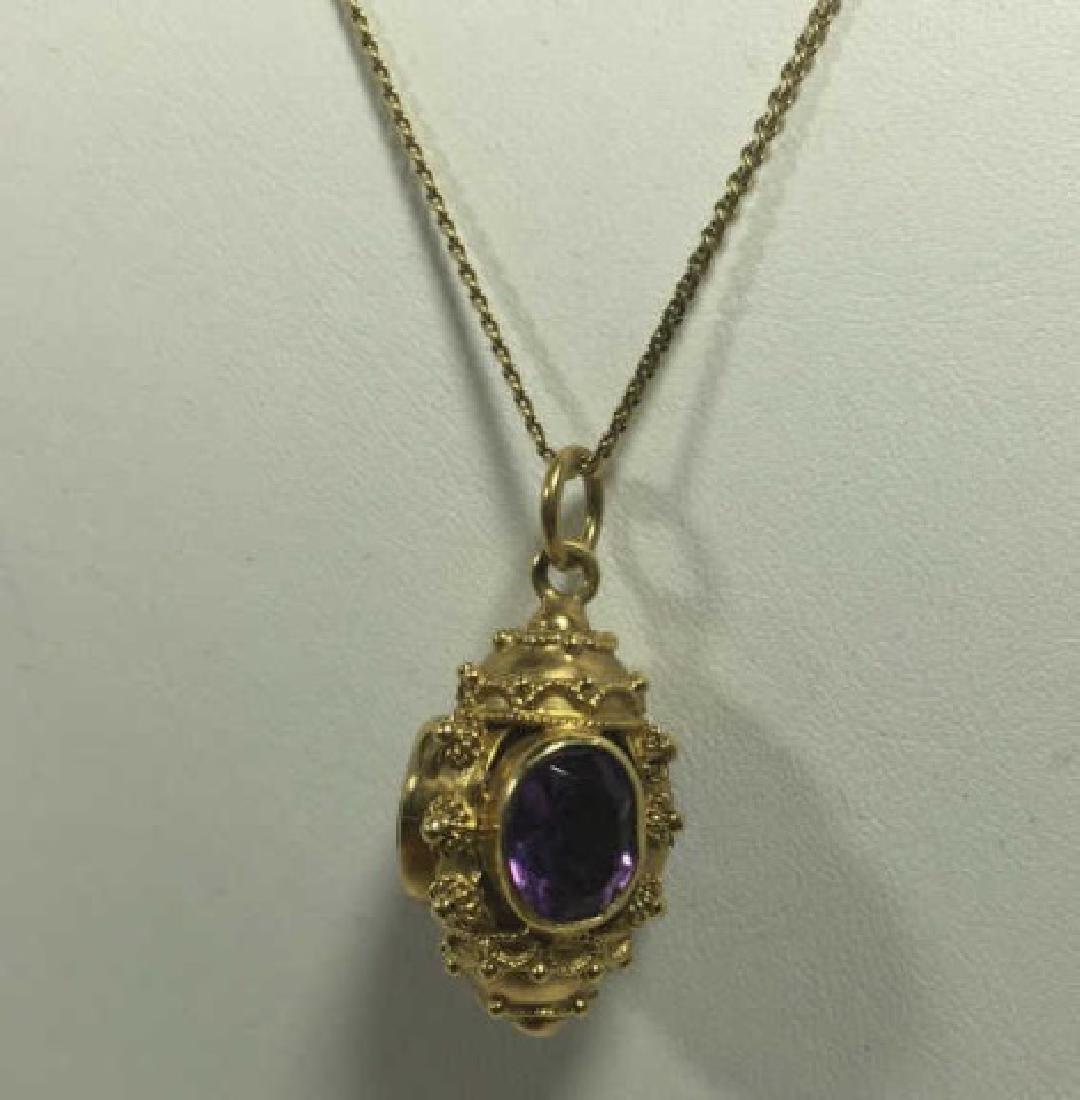 Estate Etruscan Revival Amethyst & 14kt Necklace