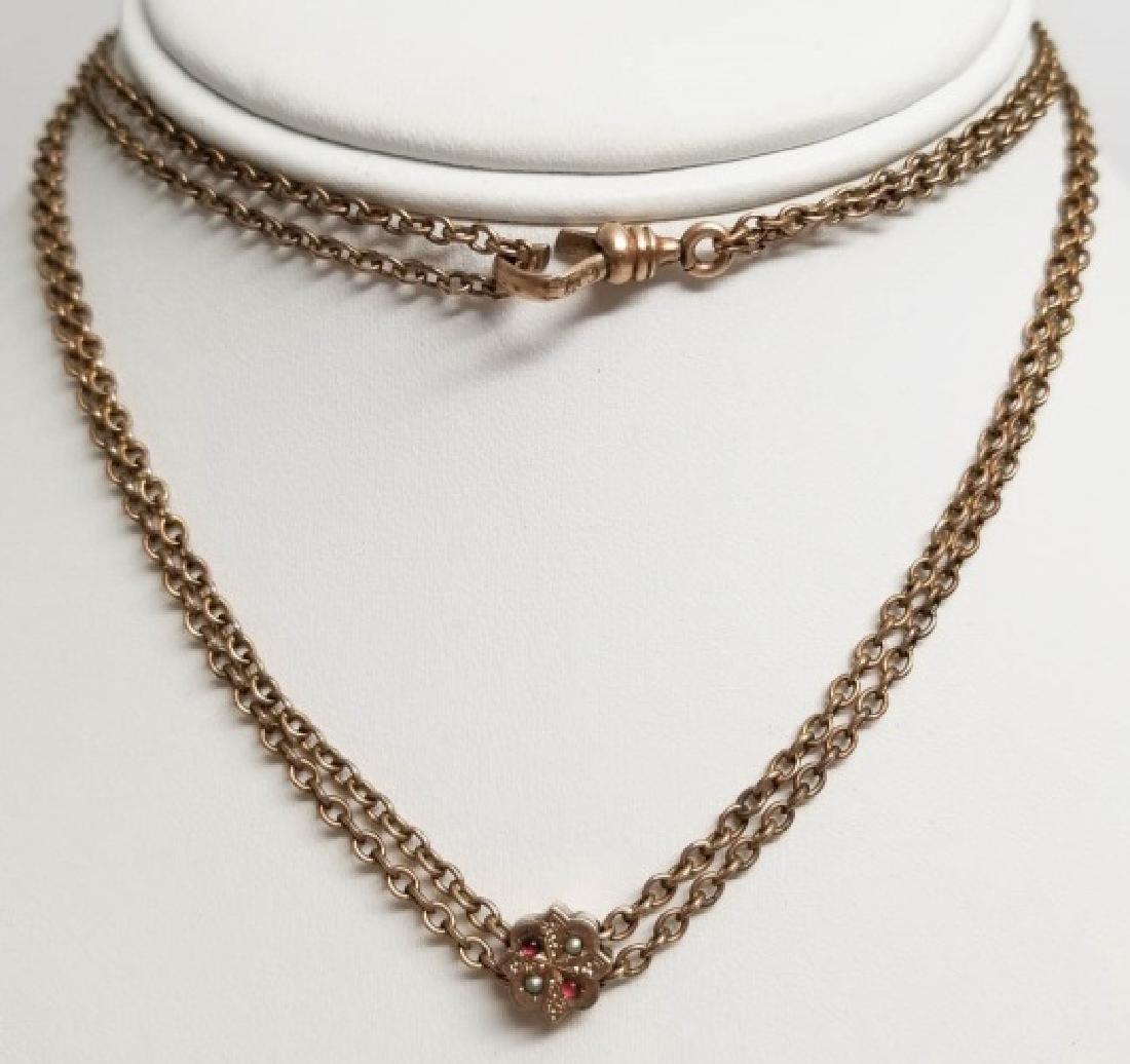 Antique 19th C Victorian Necklace w Slide Pendant