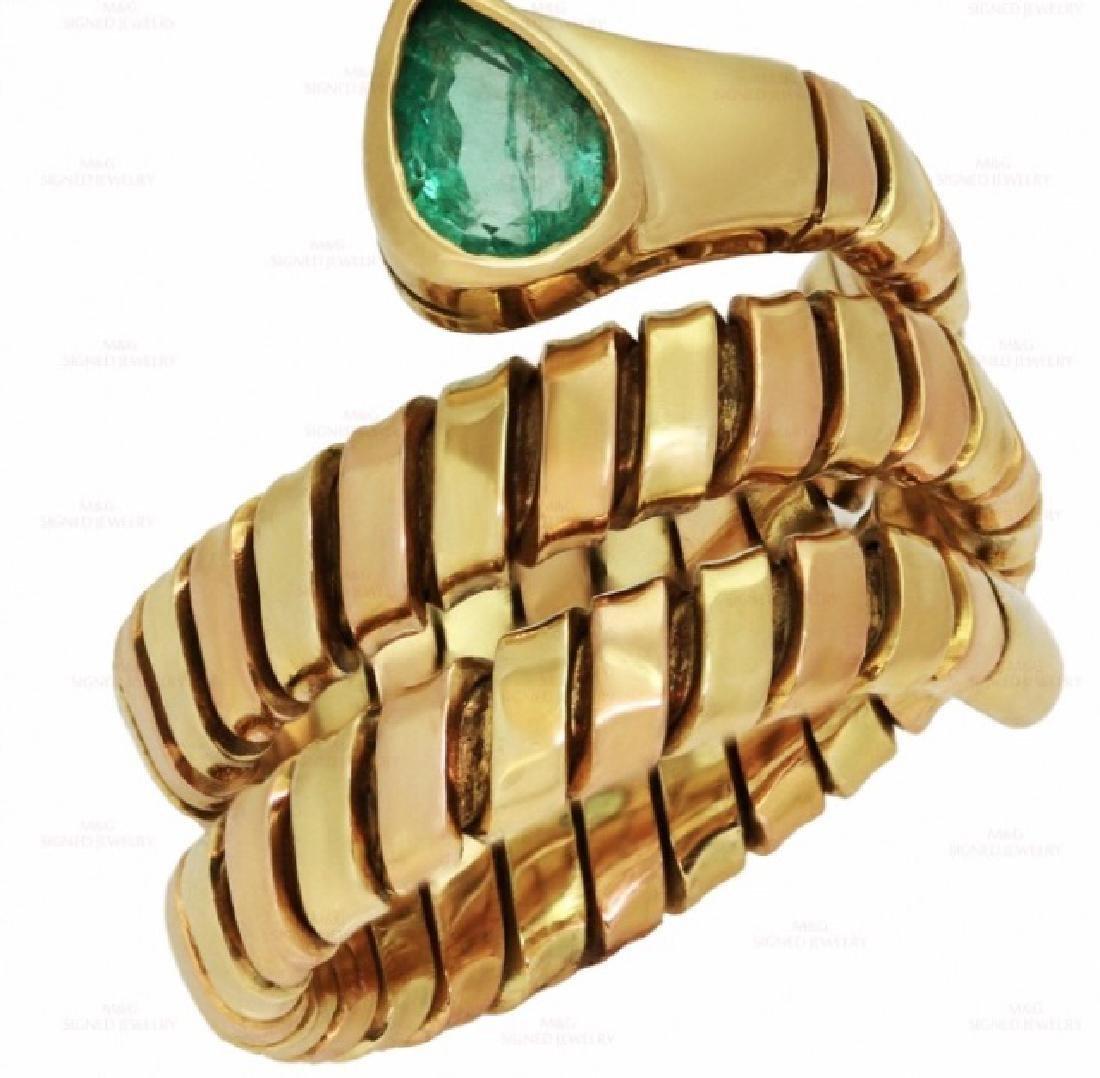 BULGARI Snake Emerald 18k Yellow Rose Gold Ring