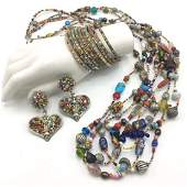 Two Vintage Murano Venetian Glass Bead Necklaces