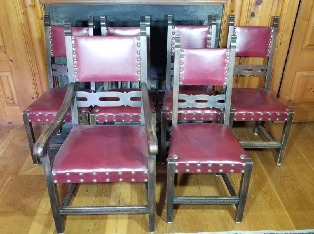 Six Antique Tudor Jacobean Leather Dining Chairs