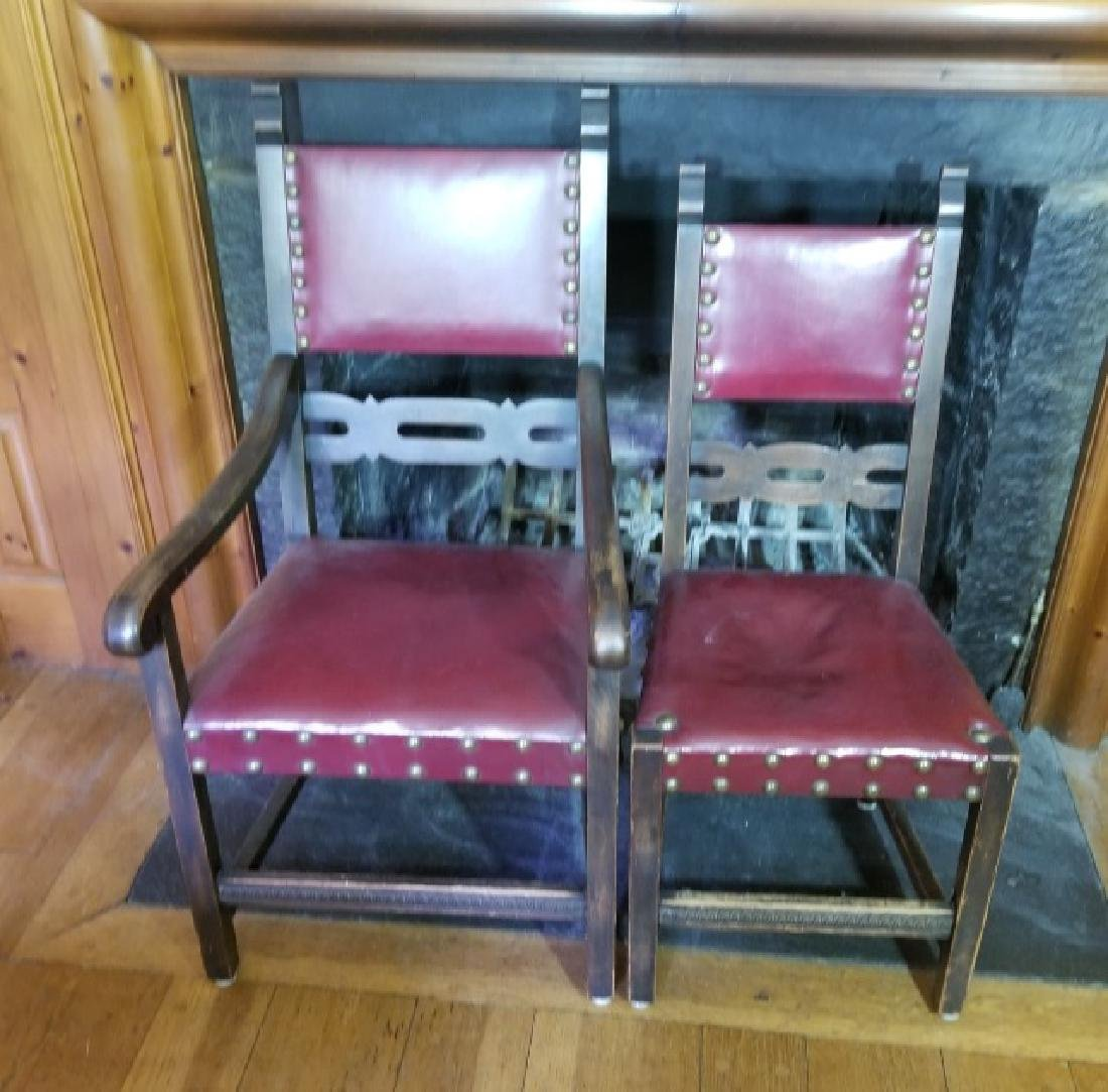 Six Antique Tudor Jacobean Leather Dining Chairs - 3